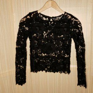 Divided Womens Black Thick Lace Long Sleeve Top 2